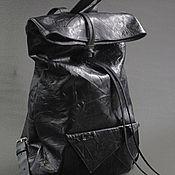 Кожаный рюкзак мешок черный  мятая кожа backtoblack