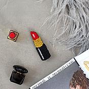 Украшения handmade. Livemaster - original item Embroidered brooch Red lipstick. Handmade.