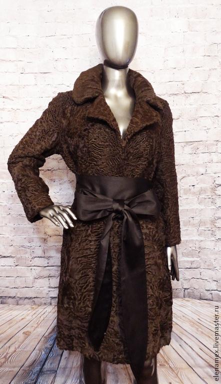 Верхняя одежда ручной работы. Ярмарка Мастеров - ручная работа. Купить Пальто из каракуля swakara сур.. Handmade. Коричневый, каракуль