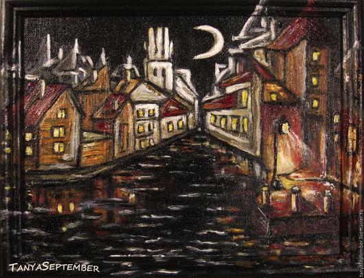 """Город ручной работы. Ярмарка Мастеров - ручная работа. Купить Картина-миниатюра в раме""""Лунный канал"""". Handmade. Черный"""