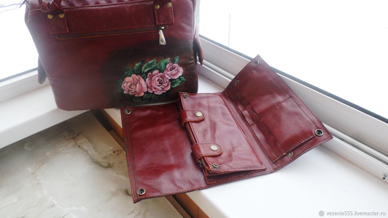 ba8c9a81ba95 Комплект для Елены. Женские сумки ручной работы. Заказать Сумка и несессер  кожаные с росписью.