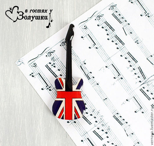 """Броши ручной работы. Ярмарка Мастеров - ручная работа. Купить Брошь """"Британский флаг в виде гитары"""". Handmade. Ярко-красный"""