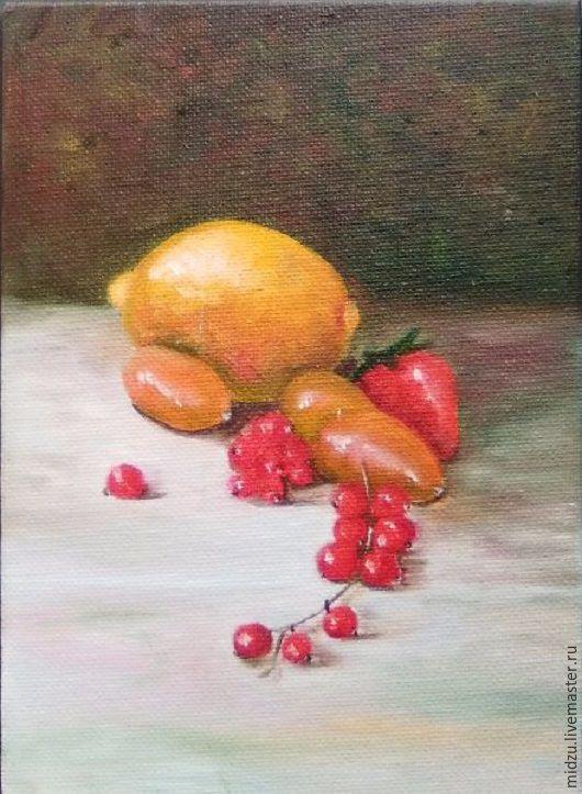 Натюрморт ручной работы. Ярмарка Мастеров - ручная работа. Купить Натюрморт с лимоном и смородиной. Handmade. Желтый, красный, картина маслом