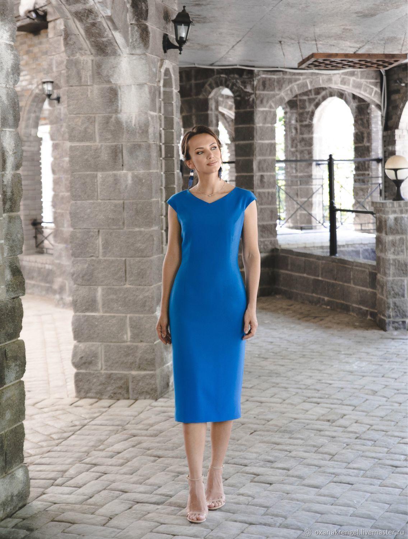 Платье-футляр с V-образным вырезом синее, Платья, Москва,  Фото №1