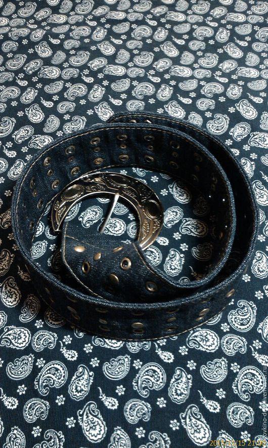 Пояса, ремни ручной работы. Ярмарка Мастеров - ручная работа. Купить Ремень из джинсы с металлической пряжкой. Handmade. Тёмно-синий
