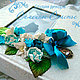 """Свадебные фотоальбомы ручной работы. Ярмарка Мастеров - ручная работа. Купить Фотоальбом """"Бирюзовое цветение роз"""". Handmade. Бирюзовый"""
