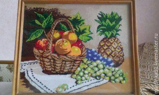 """Натюрморт ручной работы. Ярмарка Мастеров - ручная работа. Купить Вышитая картина крестиком ручная работа """"Натюрморт с фруктами"""". Handmade."""