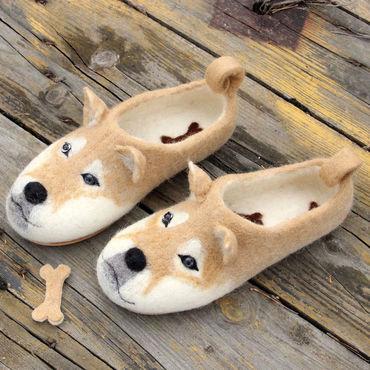 Обувь ручной работы. Ярмарка Мастеров - ручная работа Валяные тапочки Сиба Ину. Handmade.