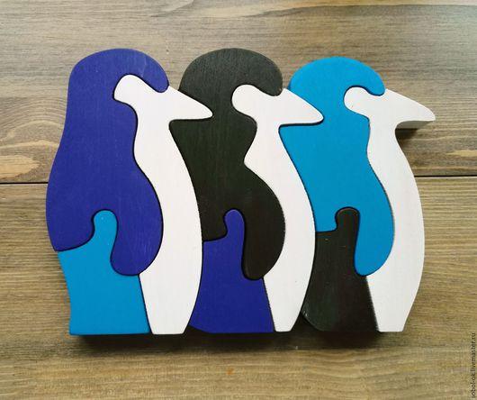 """Развивающие игрушки ручной работы. Ярмарка Мастеров - ручная работа. Купить Живой пазл """"Дружные пингвины"""". Handmade. Тёмно-синий"""