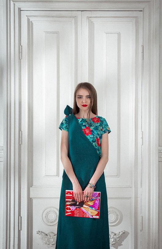 Платья ручной работы. Ярмарка Мастеров - ручная работа. Купить Шелковый сарафан на одно плечо. Handmade. Тёмно-синий