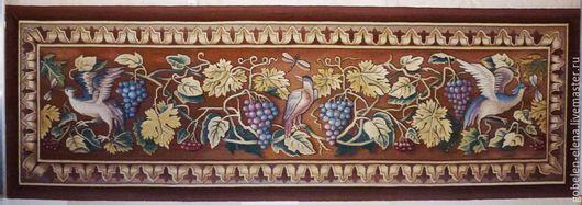 """Текстиль, ковры ручной работы. Ярмарка Мастеров - ручная работа. Купить Декоративное панно """" Птицы и виноград """". Гобелен ручной работы.. Handmade."""