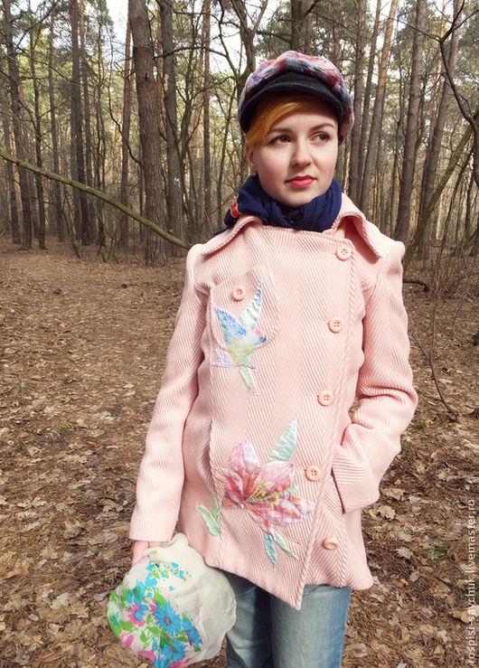 Верхняя одежда ручной работы. Ярмарка Мастеров - ручная работа. Купить Пальто Розовая нежность Размер М-L Авторская росписью. Handmade.