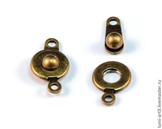 Для украшений ручной работы. Ярмарка Мастеров - ручная работа. Купить Замочек кнопка античное золото бронзовая застежка для украшений. Handmade.