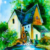Картины и панно handmade. Livemaster - original item fabulous little mill, stained glass painting. Handmade.