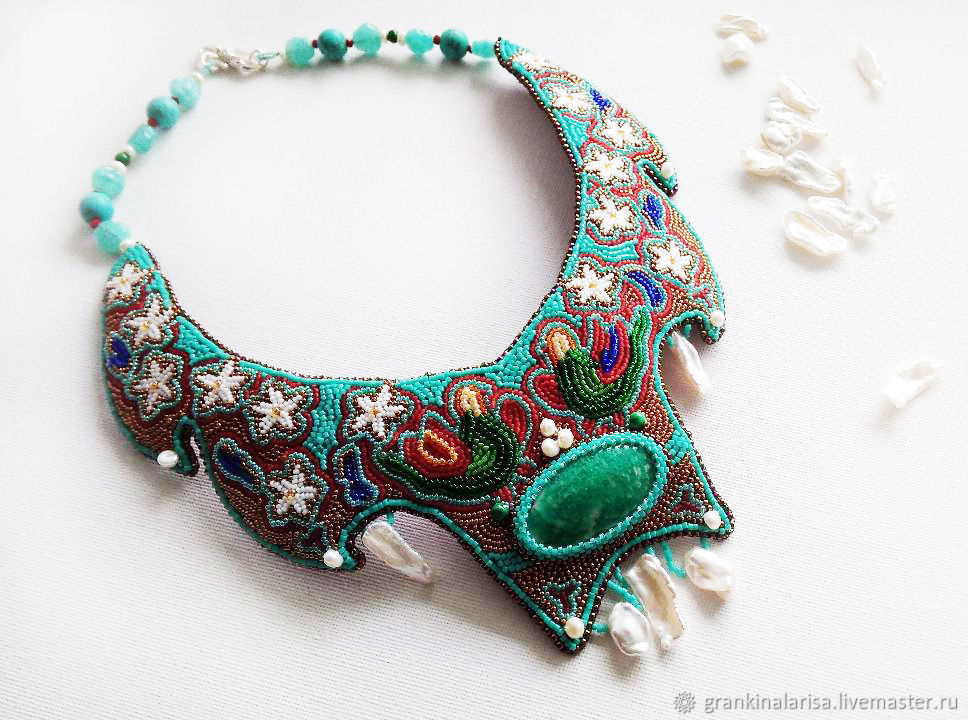 Necklace with amazonite and embroidered mini beads 'garden of Eden', Necklace, Ekaterinburg,  Фото №1