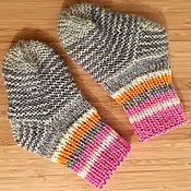 Работы для детей, handmade. Livemaster - original item Slim down knitted baby socks (grey, pink, orange). Handmade.
