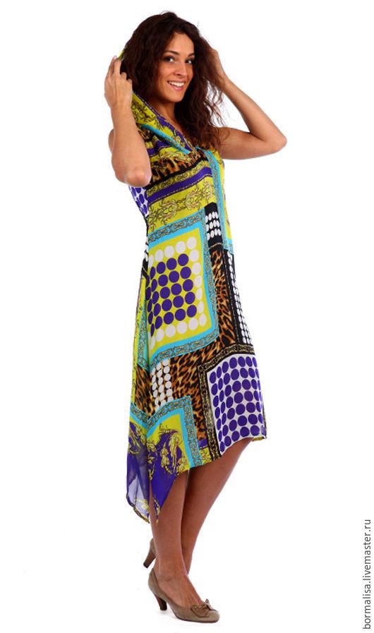"""Платья ручной работы. Ярмарка Мастеров - ручная работа. Купить Платье """"TODES"""". Handmade. Комбинированный, шифоновое платье, платье с капюшоном"""