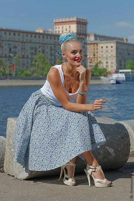 """Юбка-солнце """"Василёк"""" в стиле 50-х годов из натурального хлопка. Отлично сидит на любой фигуре, идеальна в солнечную погоду и жаркий, знойный день."""