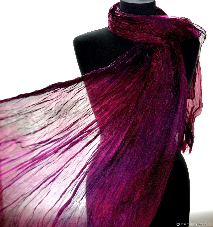 c4e3b4c031dd8 Silk Scarves handmade. Scarf silk black purple women's long. Silk scarves  gift for Womans.