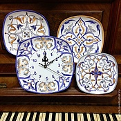 Посуда handmade. Livemaster - original item Painted porcelain Collection of plates with clock Talavera. Handmade.