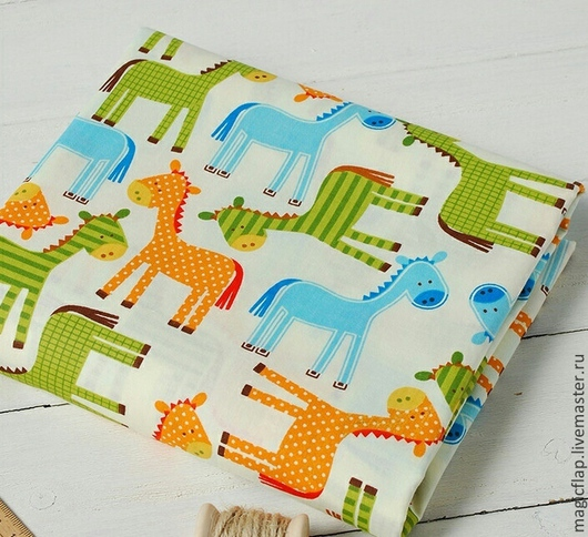 Шитье ручной работы. Ярмарка Мастеров - ручная работа. Купить Ткань хлопок Лошадки. Для детской комнаты, пэчворка, игрушек, подушек. Handmade.