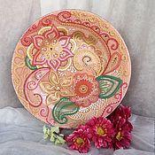 Посуда ручной работы. Ярмарка Мастеров - ручная работа Тарелка декоративная Цветочная лужайка. Handmade.