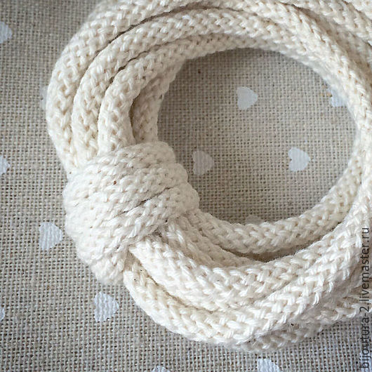 Для украшений ручной работы. Ярмарка Мастеров - ручная работа. Купить Шнур (арт.х3) хлопковый, 5 мм, натуральный белый. Handmade.