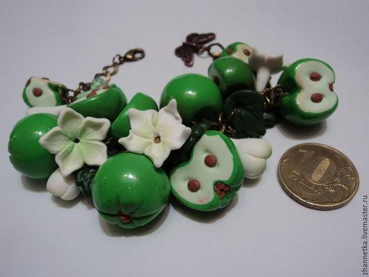 """Браслеты ручной работы. Ярмарка Мастеров - ручная работа. Купить Браслет  """"Яблочный аромат"""".. Handmade. Зеленый, браслет с подвесками"""