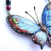Колье ручной работы. Ярмарка Мастеров - ручная работа Колье «Бабочка». Бабочка из полимерной глины, роспись. Handmade.