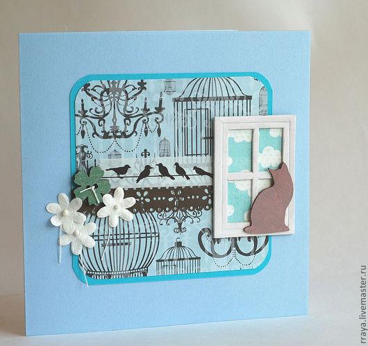 """Открытки на все случаи жизни ручной работы. Ярмарка Мастеров - ручная работа. Купить открытка """"Домашние питомцы"""". Handmade. Голубой, цветы"""