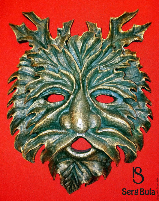 """Интерьерные  маски ручной работы. Ярмарка Мастеров - ручная работа. Купить Маска """"Лесовик"""". Handmade. Зеленый, липа"""