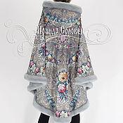 """Одежда ручной работы. Ярмарка Мастеров - ручная работа Пальто-пончо с отстёгивающимся капюшоном """"Тайна сердца-5"""" из платков. Handmade."""