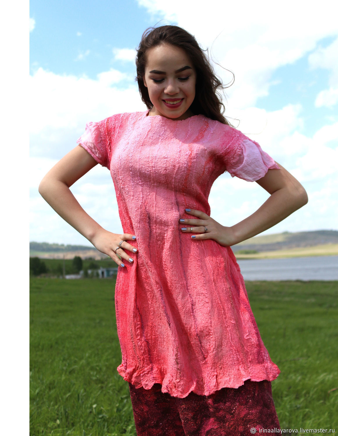d8d52438f7c Felted dress Pink wine! on silk – shop online on Livemaster with ...