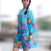 """Одежда ручной работы. Ярмарка Мастеров - ручная работа Туника-блуза-платье для города или пляжа """"Лазурный берег"""" батик. Handmade."""