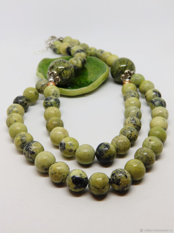 Lime beads (serpentinite) 37-42 cm, Beads2, Gatchina,  Фото №1