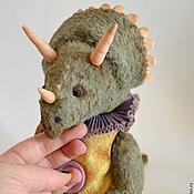 Куклы и игрушки ручной работы. Ярмарка Мастеров - ручная работа Кентрик - тедди трицератопс. Handmade.