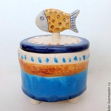 Для дома и интерьера ручной работы. Ярмарка Мастеров - ручная работа Шкатулка Рыбка в горошек. Handmade.