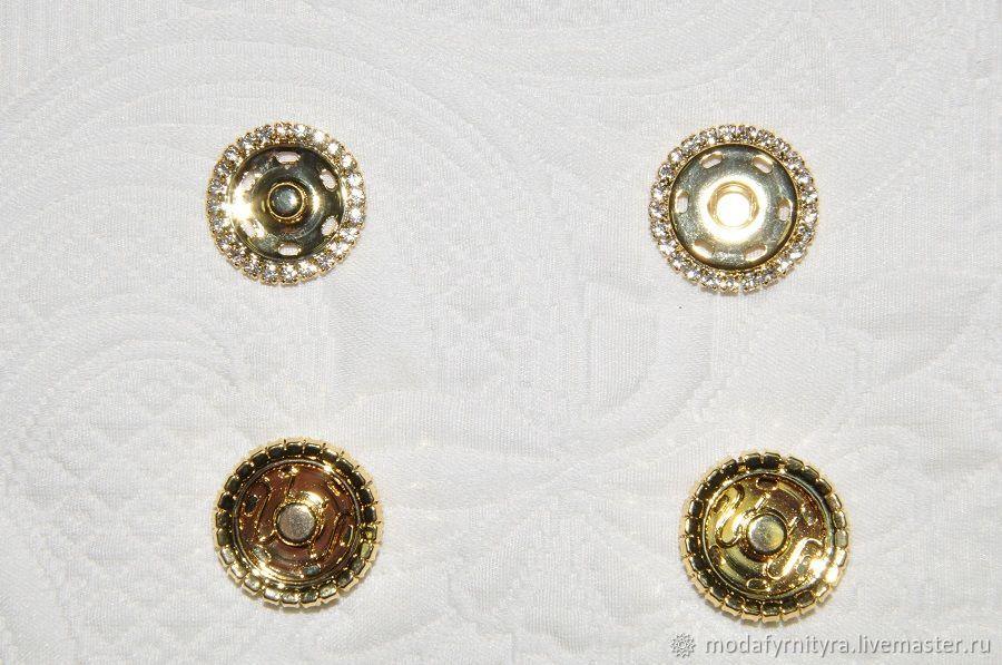 Кнопка для одежды со стразами золотая, Пуговицы, Москва,  Фото №1