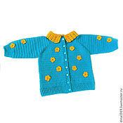 Sweater Jackets handmade. Livemaster - original item jacket for girls children`s knitted blouse turquoise yellow. Handmade.