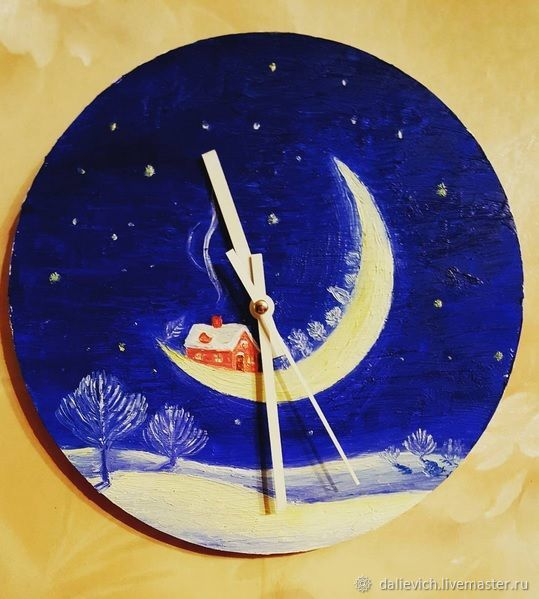 Часы-картинка Зимняя ночь, Часы классические, Сочи,  Фото №1