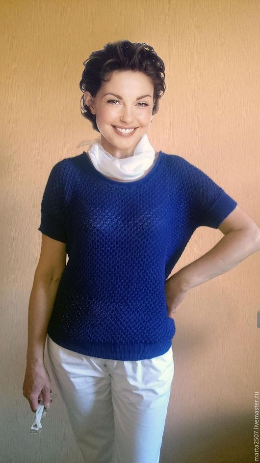 Блузки ручной работы. Ярмарка Мастеров - ручная работа. Купить Летняя блузка с коротким рукавом. Handmade. Тёмно-синий