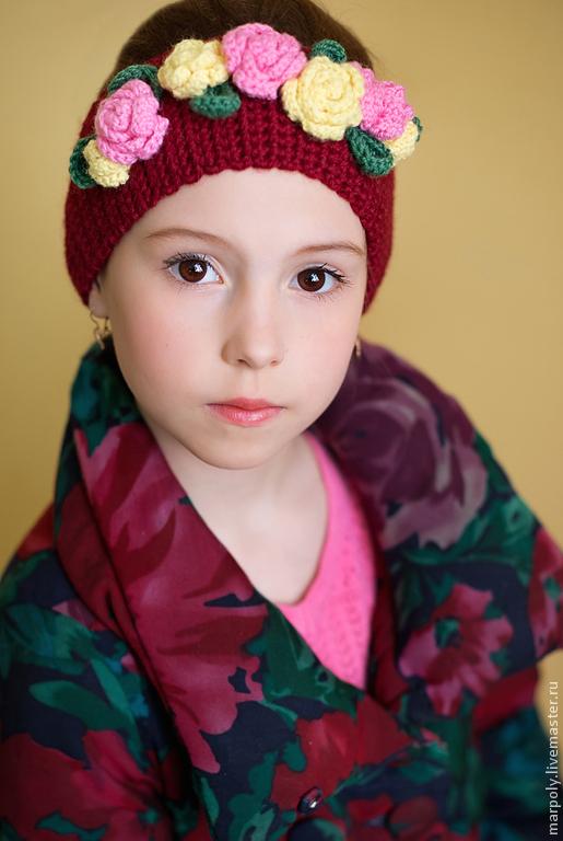 Шапки и шарфы ручной работы. Ярмарка Мастеров - ручная работа. Купить Повязка на голову Розы. Handmade. Бордовый, осенняя мода