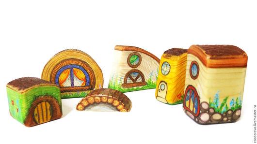 """Развивающие игрушки ручной работы. Ярмарка Мастеров - ручная работа. Купить Игровые деревянные домики  """"Лесной городок"""". Handmade."""