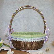 Для дома и интерьера ручной работы. Ярмарка Мастеров - ручная работа Плетеная корзина декорированная сиреневая с зеленым. Handmade.