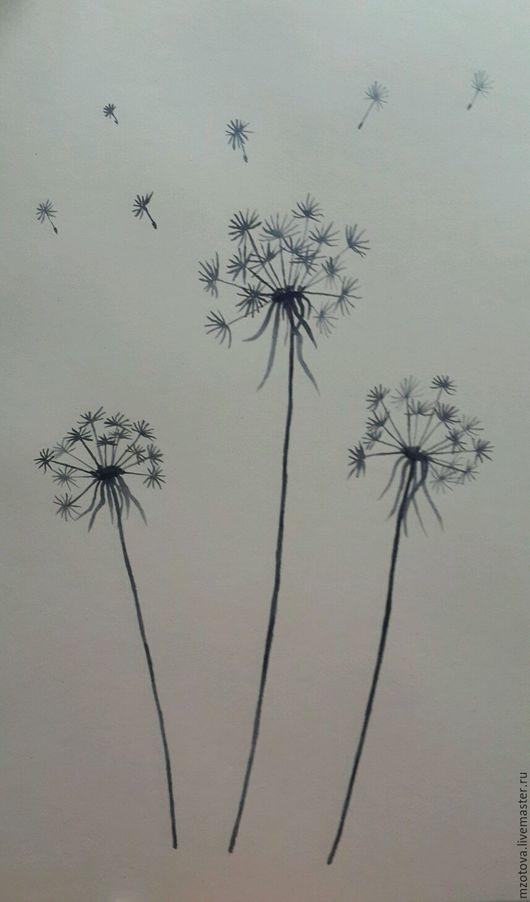 Картины цветов ручной работы. Ярмарка Мастеров - ручная работа. Купить Одуванчики. Handmade. Одуванчики, цветы, полевые цветы и травы