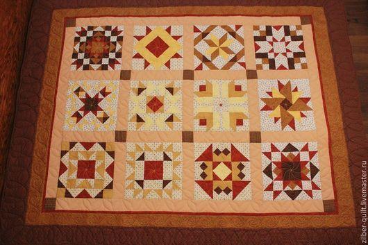 Текстиль, ковры ручной работы. Ярмарка Мастеров - ручная работа. Купить Лоскутное одеяло (сэмплер)  Кофе с корицей и имбирем, пэчворк. Handmade.