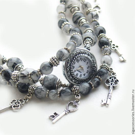 Часы с браслетами Ключики от сердечных тайн, рутиловый кварц, серые, с подвесками