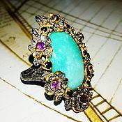 """Перстень """"Azure flower"""" с натуральной бирюзой, сапфирами."""