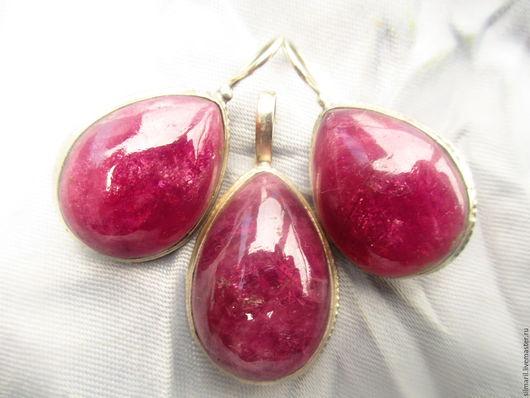 комплект `Розовый букет` цена 6700 турмалин ярко малинового розового цвета