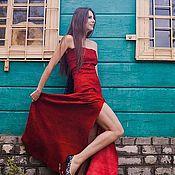 Одежда handmade. Livemaster - original item Long formal gown strapless Red Passion. Handmade.
